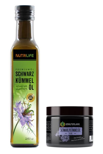 Schwarzkümmelöl ungefiltert 250ml + Salbe 110ml